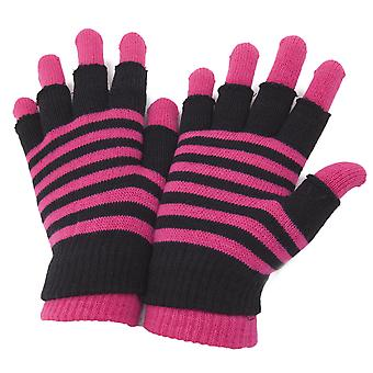 Dames/Womens gestreepte thermische 2 In 1 Magic handschoenen (vingerloze en volledige Fingered)