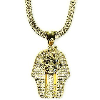 18k Gold Plated CZ  King Tut Pharaoh Pendant with 2.4mm Flat Franco Box Chain