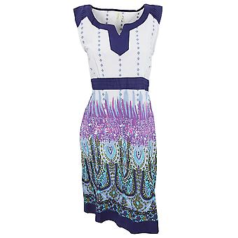 Womens/Ladies Elasticated Patterned Sleeveless Summer Dress