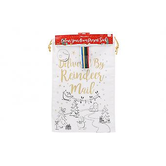 CGB Giftware Christmas Colour In Reindeer Mail Sack