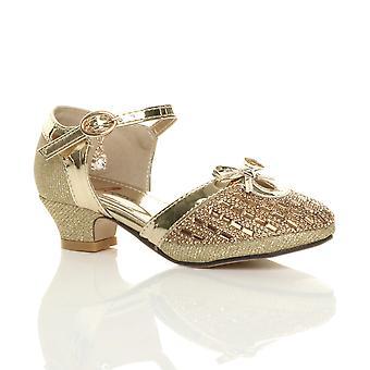 Ajvani tytöt matala kantapää diamante keula solki hihna tuomioistuin kengät sandaalit