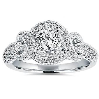 1/2CT Vintage Infinity Halo Diamond Engagement Ring 14K White Gold Deco Accents