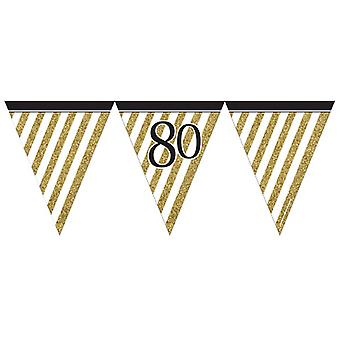 Creative Party 80 Black And Gold Paper Flag Bunting