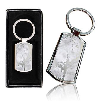 i-Tronixs - Premium Marble Design Chrome Metal Keyring with Free Gift Box (1-Pack) - 0037