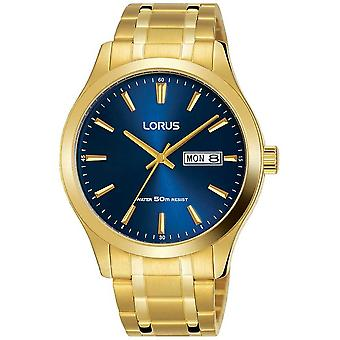 Lorus Gold PVD Plated Gold Case Blue Dial Day & Date Display RXN62DX9 Watch