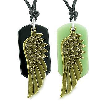 Guardian Angel Wings Protect Powers Love Couples Best Friends Agate Green Quartz Necklaces