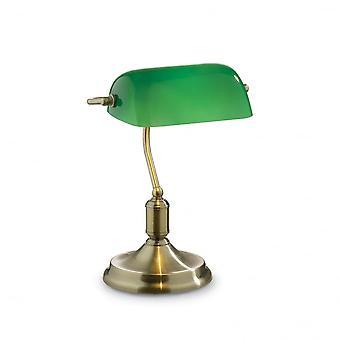 Ideell Lux advokat bronsemedalje bankmannen bordlampe med grønne Glass skjerm