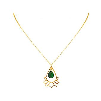 Ladies - necklace - pendant - 925 Silver - gold plated - Lotus Flower - mandala - tourmaline quartz - drop - green - YOGA - 4 cm