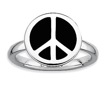 925 Sterling Silver Rhodium plated Stackable Expressions Polished Black Enameled Peace Sign Ri Jewelry Gifts for Women -