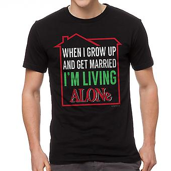 Home Alone Living Alone When Married Men's Black T-shirt