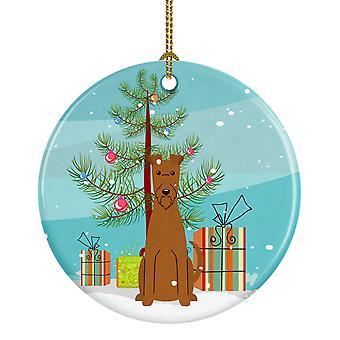 Merry Christmas Tree Irish Terrier Ceramic Ornament