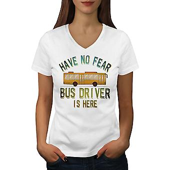 Bus Driver Here Women WhiteV-Neck T-shirt | Wellcoda