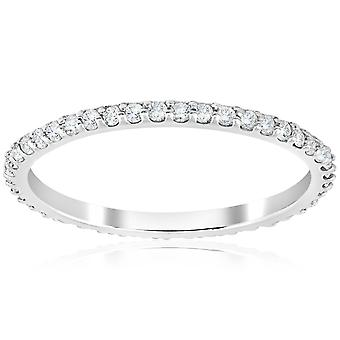 1/2 ct diamante eternidade empilhável aliança 14K branco ouro 1.7 mm de largura
