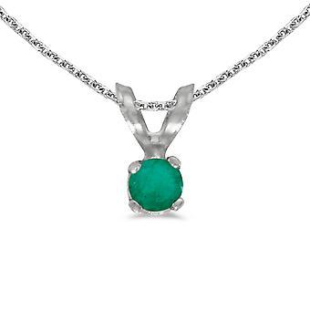 LXR 14k White Gold Round Emerald Pendant 0.09 ct