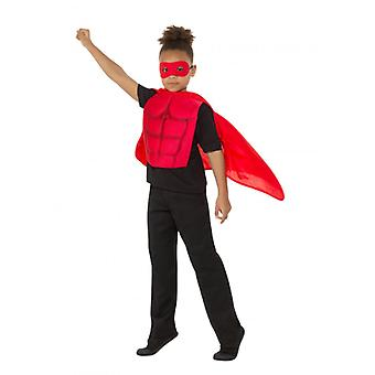 Kids Superhero Kit Red, Eyemask EVA & Cape,Boys Fancy Dress Age 4-7