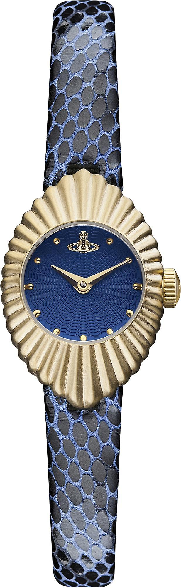 Vivienne Westwood PVD Gold Plated Case Blue Leather Strap Ladies Watch VV096NVNV 21mm