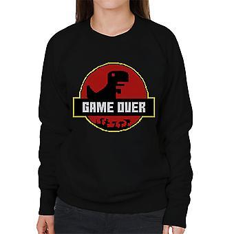 Retro Pixel Game Over T Rex Jurassic Park Women's Sweatshirt