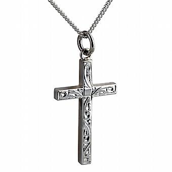 Silver 30x18mm hand engraved solid block Cross with a curb Chain 24 inches
