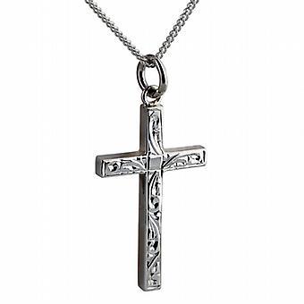 Silber 30x18mm handgravierte soliden Block Kreuz mit einem Bordstein Kette 24 Zoll