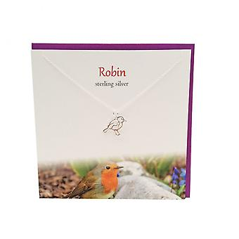 The Silver Studio Wildlife Collection Robin Pendant Card
