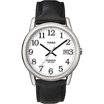 Timex T2H281 wrist watch, men's analogue dial, black leather strap, white/silver/black