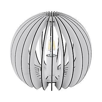 Eglo - lámpara de mesa de luz de Cossano solo en blanco acabado con madera cortina EG94949