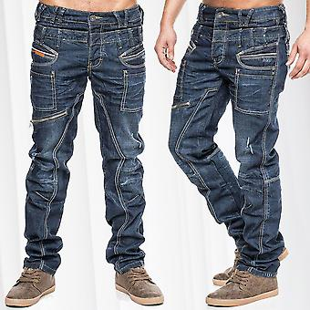 Cargo Jeans Regular Fit Pants Pocket Work Time Warp dark blue style thick seams