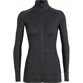 Icebreaker Women's Fluid Zone Long Sleeve Zip - Jet Heather/Black
