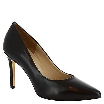 Fatto a mano classico con tacco stiletto Leonardo scarpe donna in pelle di vitello nera