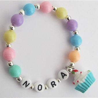 Birthday Party Favor Bracelet Cupcake Charm Multicolor Pearls