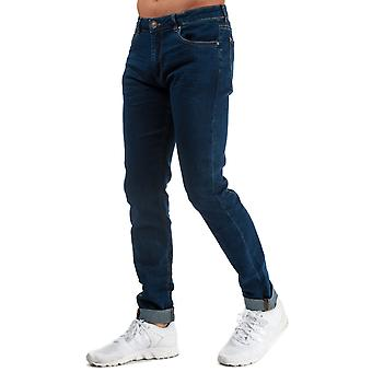 Mens Ringspun Poseidon Relaxed Skinny Fit Jeans In Denim- Zip Fly- Belt Loops To