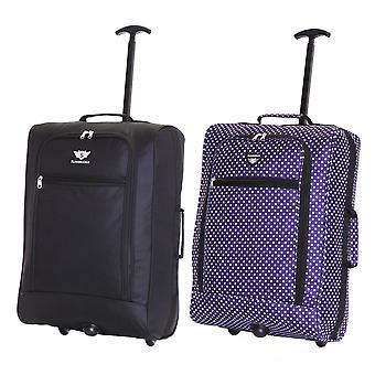 Slimbridge Montecorto Set of 2 Cabin Luggage Bags, (Set of Black and Purple Dots)