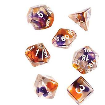 Purple Orange Clear Polyhedral Dice Set