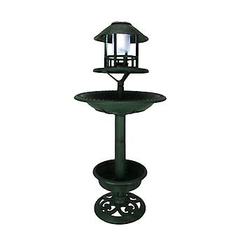 Antique Green Plastic Solar Lighted Bird Bath or Feeder with Planter