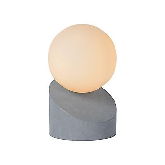 Lucide Len Modern Round Metal Grey And Opal Table Lamp