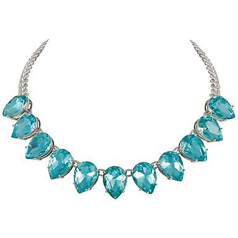 Eternal Collection Seduction Teardrop Aquamarine Crystal Silver Tone Fashion Necklace