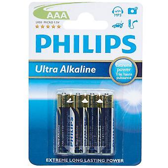 New Phillips Ultra Alkaline AAA Batteries 4 Pack Blue