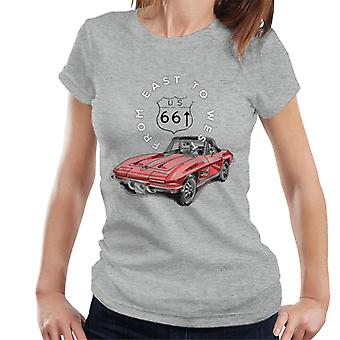 Route 66 From East To West Car Women's T-Shirt