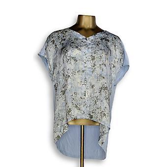 H par Halston Women-apos;s Top Printed V-Neck w/ Jersey Knit Back Blue A274543