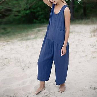 Casual Cotton Playsuits Wide Legplus Size