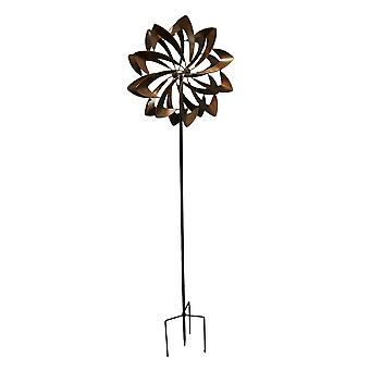 Metallic Brown Metal Art Spinning Pinwheel Wind Catcher Garden Stake