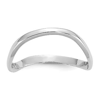 14k oro bianco lucido onda moda anello di pollice