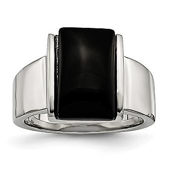 Acero inoxidable pulido con anillo de cristal negro - tamaño del anillo: 7 a 9