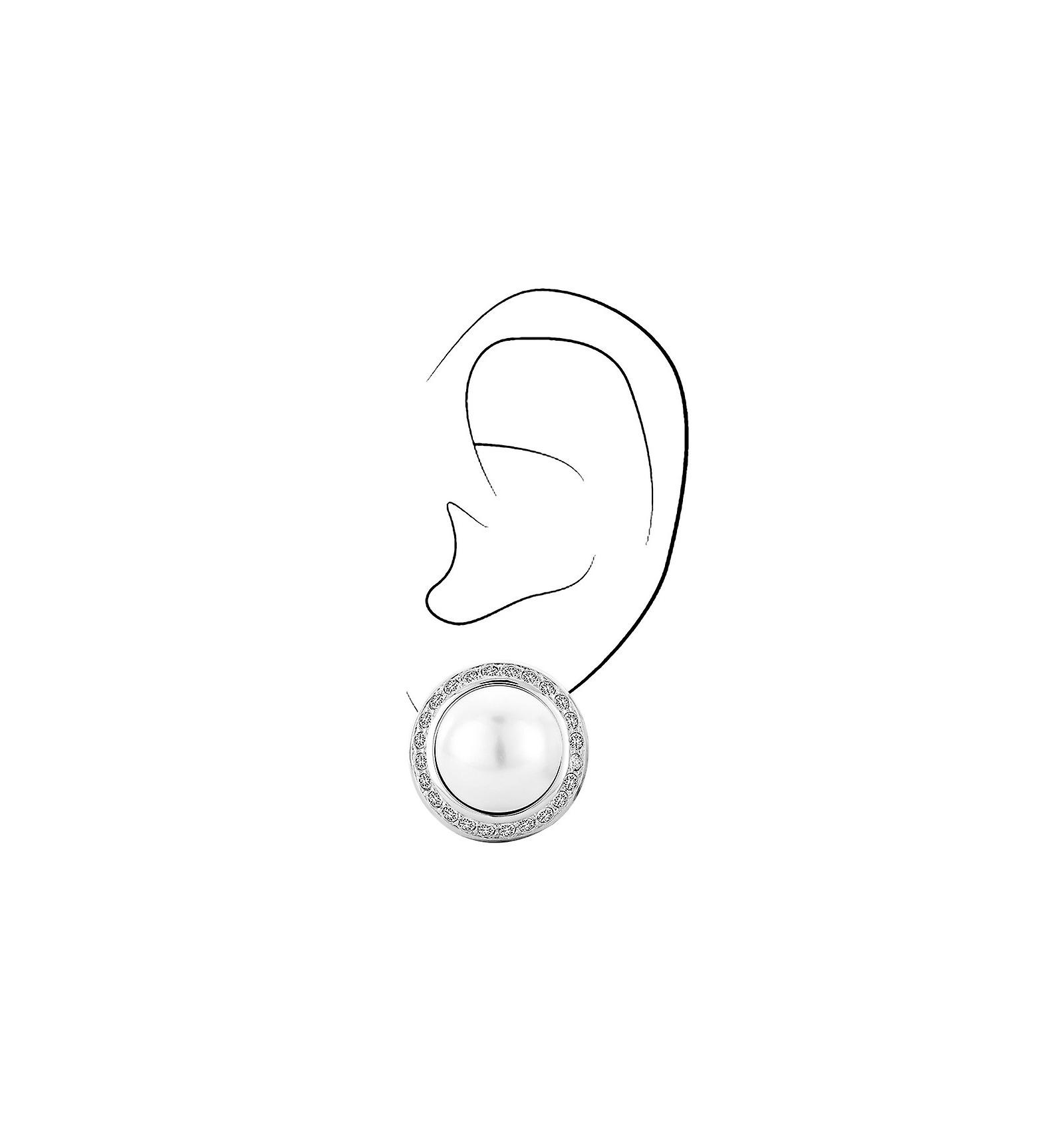 Traveller clip earring - 16mm white pearl - rhodium plated - 113260