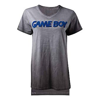 Gameboy T Shirt Patch Logo new Official Nintendo Womens Skinny Fit Grey Burnout