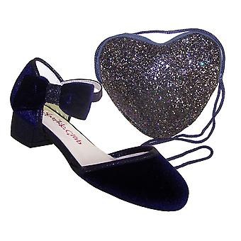 Girls dark blue velvet sparkly low heeled party shoes and matching bag