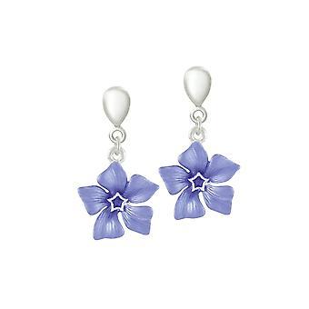 Eternal Collection Periwinkle sininen emali kukka Hopea sävy pudota Clip korva korut