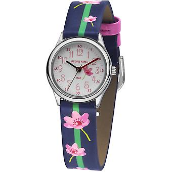 JACQUES FAREL Kids Wristwatch Analog Quartz Girl Faux Leather HCC 301 Flowers