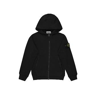 Stone Island Junior Black Hooded Zip Sweatshirt