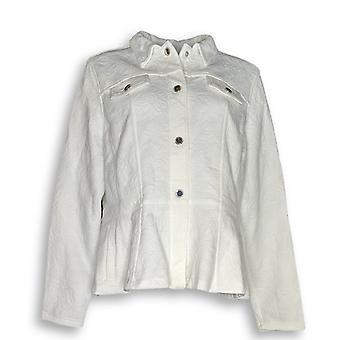 Isaac Mizrahi Live! Women's Jacket Knit Jacquard Snap Front White A289649